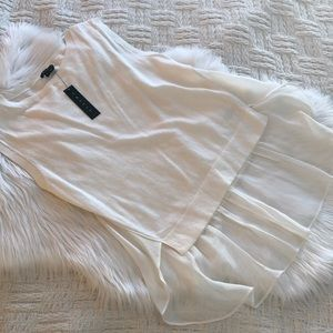 Theory Umalda Knit/Sheer Layered Top in Ivory